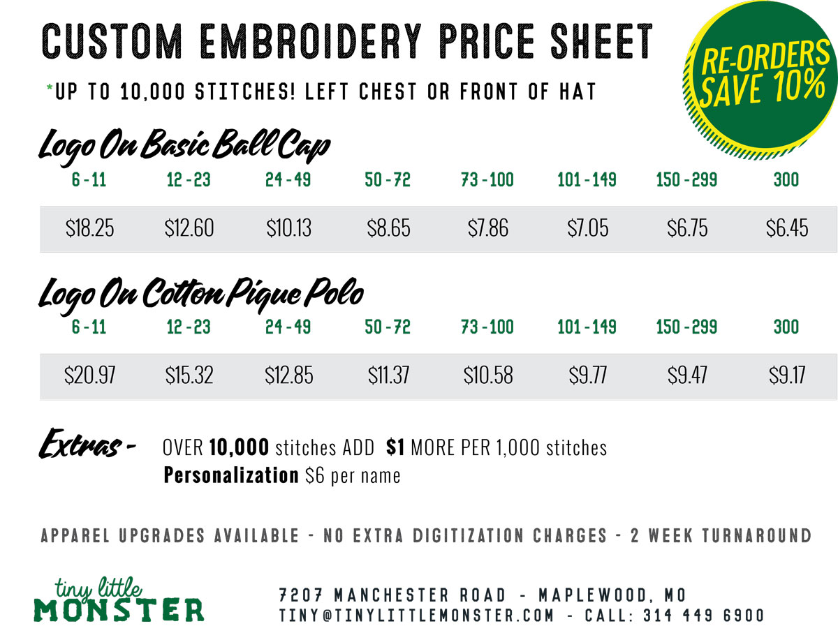 Custom Embroidery Price Sheet